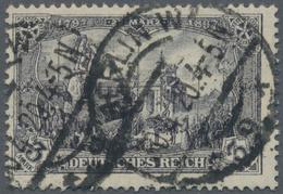 """Deutsches Reich - Germania: 1916, 3 Mark Germania Kriegsdruck 26:17 Zähnungslöcher Gestempelt """"BERLI - Deutschland"""