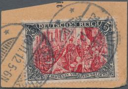 Deutsches Reich - Germania: 1906, Freimarke 5 M Schwarz/rot, Sogenannter Ministerdruck Auf Briefstüc - Deutschland