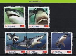Nfd15s FAUNA 'VISSEN FISH FISCHE' WITTE HAAI MENSENHAAI GREAT WHITE SHARK HAIE MARINE LIFE SAMOA 2014 PF/MNH # - Maritiem Leven
