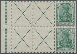 Deutsches Reich - Markenheftchenblätter: 1912, X + 5 Pfg. Germania, Heftchenblatt, Vier Felder Mit A - Deutschland