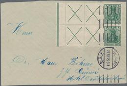 Deutsches Reich - Markenheftchenblätter: 1912, 2 X 5 Pf Germania + 4 Andreaskreuze Mit Durchgezähnte - Deutschland