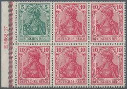Deutsches Reich - Markenheftchenblätter: 1917, Heftchenblatt 5 + 10 Pfg. Lebhaftrotkarmin Germania P - Deutschland