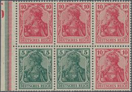 Deutsches Reich - Markenheftchenblätter: 1920, Heftchenblatt 5 Pfg. Dunkelopalgrün + 10 Pfg Rosarot - Deutschland