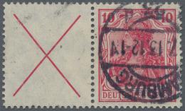 Deutsches Reich - Zusammendrucke: 1912, X + 10 Pfg. Germania, Zusammendruck Aus HBl. 8 Sauber Gestem - Zusammendrucke
