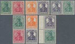 Deutsches Reich - Zusammendrucke: 1917/18, Germania, Alle 6 Zusammendrucke Zu Markenheft 9 Ungebrauc - Zusammendrucke