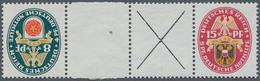 Deutsches Reich - Zusammendrucke: 1928. Nothilfe Zusammendruck 15 Pf + 84 Mit Zwischensteg Und Grüne - Zusammendrucke