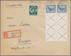 Deutsches Reich - Zusammendrucke: 1933, 20 Pf + 3x X Zusammendruck Im 8er-Block MiF Auf R-Brief Von - Zusammendrucke