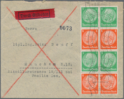Deutsches Reich - Zusammendrucke: 1935, 5 Und 8 Pf Senkr. Zdr Im 8er-Block Auf ROHRPOST-Brief In MÜN - Zusammendrucke