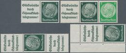 Deutsches Reich - Zusammendrucke: 1939, Alle 4 Möglichen Hindenburg-Zusammendrucke Mit Plattenfehler - Zusammendrucke