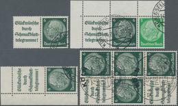 """Deutsches Reich - Zusammendrucke: 1939, 6 Pfg. Hindenburg, Alle 4 Zusammendrucke Mit Plattenfehler """" - Zusammendrucke"""