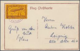 """Deutsches Reich - Halbamtliche Flugmarken: 1913, LIEGNITZ Bräunlichrot, Luftschiff """"Sachsen"""" über Li - Luftpost"""