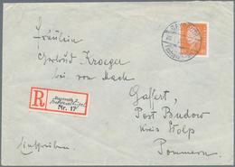 """Deutsches Reich - Stempel: """"BAYREUTH 2 FESTSPIELHÜGEL"""", Seltener Sonder-R-Zettel Auf R-Brief Mit 45 - Deutschland"""