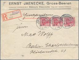 """Deutsches Reich - Stempel: """"GROSSBEEREN FESTPLATZ"""""""", Seltener Sonder-R-Zettel Auf R-Brief Mit 3 X 10 - Deutschland"""