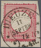 Deutsches Reich - Hufeisenstempel: DIEUZE 17 SEPBR 72 Auf Briefstück Mit Großer Schild 1 Gr. Karmin - Deutschland