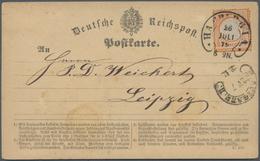 Deutsches Reich - Hufeisenstempel: 1872, Großer Schild ½ Gr. Auf Postkarte Mit Je Hufeisenst. HAMBUR - Deutschland