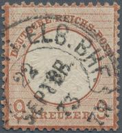 Deutsches Reich - Hufeisenstempel: 1872, Großer Schild 9 Kr. Orangebraun UNIKAT Mit Groschengebiet-H - Deutschland