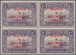 Belgische Besetzung - Eupen Und Malmedy: 1920, 1 Mk. 25 Auf 1 Fr Im Postfrischen Luxus-Viererblock O - Zona Belga