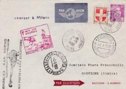 Lettre Par Hélicoptère Bourget Aéroport Vers Milan Riccione  Oblitération Et Cachets Spéciaux 1950 - Trieste