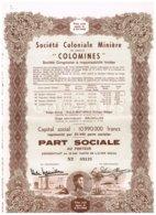 """Titre Ancien - Société Coloniale Minière """"Colomines"""" - Société Congolaise à Responsabilité Limitée - Titre De 1952 - Afrika"""