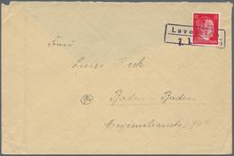 """Deutsches Reich - Stempel: """"Lavelsloh (Bz. Bremen), Not-Ra2 Mit Separat Eingefügtem Daumsstempel """"1. - Deutschland"""