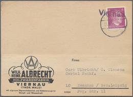 """Deutsches Reich - Stempel: """"Viernau"""", Not-L1 Auf Postkarte Frankiert Mit 6 Pfg. Hitler Und Poststemp - Deutschland"""