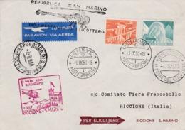 Lettre Par Hélicoptère  1er Courrier Suisse  Riccione -S.Marino  1950 - Trieste