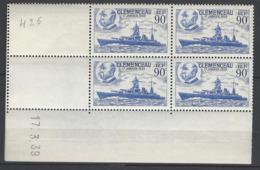 CD 425 FRANCE 1939 COIN DATE 425 : 17 / 3 / 39 MISE SUR CALE DU CUIRASSE CLEMENCEAU - Dated Corners