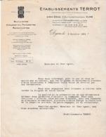 Courrier 1933 / Ets TERROT Dijon / Remplacement Des Vélos De La Gendarmerie Par Des Vélomoteurs - France