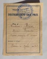 Distribution Des Prix En Juin 1953, Cours Complémentaires, Ville De Paris, Rue Moussorgski - Diplômes & Bulletins Scolaires