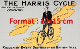 Reproduction D'une Photographie Ancienne D'une PublicitéThe Harris Cycle De 1910 - Riproduzioni