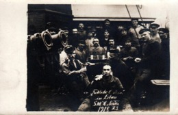 Carte Photo Originale Guerre 1914-18 & Matelots Allemands & Canons à Bord Du Bateau S.M.H. Norder In Libau Liepāja 1918 - Guerre, Militaire