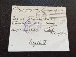 Kriegsgefangenenpost 1. WK  1918 Freiburg Brsg. Nach KNOCKALOE ALIENS CAMP PEEL ISLE OF MAN  ZENSUR - Lettres & Documents
