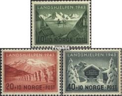 Norvège 292-294 (complète.Edition.) Avec Charnière 1943 Aide Pays - Norvège