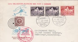 Lettre Hélicoptère Manifestation Aéronautique Et Philatélique 1951 Vers Rumelange , Luxembourg - Poste Aérienne