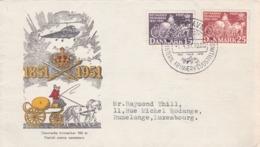 Lettre Hélicoptère Dannemark  Vers Rumelange, Luxembourg 1951 - Poste Aérienne