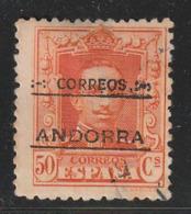 ANDORRE ESPAGNOL - N°9 (B)  Obl (1928) 50c Orange : 13x12,5 - Andorre Espagnol