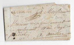 1750 - LETTRE De CLERMONT MARQUE LINEAIRE ROUGE - PUY DE DOME - Marcophilie (Lettres)