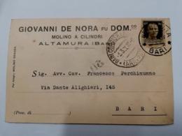 1938 ALTAMURA    TESTATINA  MOLINO A CILINDRI   DE NORA        BARI PUGLIA   VIAGGIATA  COME DA FOTO  FORMATO PICCOLO - Altamura