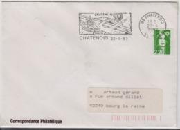 CHATENOIS (Vosges) 22 Avril 1992, Flamme, Carrefour, Pont, Route - Marcophilie (Lettres)