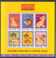 Nfe514c WALT DISNEY WILDE KAT LEEUW VOGEL VLINDER ZWIJN SIMBA PIG BIRD BUTTERFLY LION KING SIERRA LEONE 1998 PF/MNH - Disney