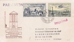 Lettre Tchécoslovaquie Vers Verviers 1960 + Deux Timbres - Poste Aérienne