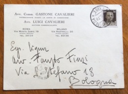 GASTONE E LUIGI CAVALIERI  CARTOLINA AUTOGRAFA Con AMBULANTE ROMA-VENEZIA * 139E *18/6/38 X FAUSTO FINZI A BOLOGNA - Werbepostkarten