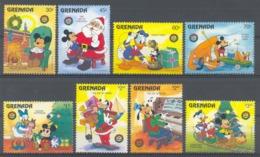 Nap882 WALT DISNEY DONALD GOOFY MICKEY TRAIN TELEPHONE PIANO PHOTOCAMERA CHRISTMAS GRENADA 1986 PF/MNH - Disney
