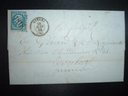 LETTRE (PLI) TP EMPIRE DENTELE 20c OBL. GC 1818 + 28 JUIN 64 HYERES (78) (83 VAR) - Marcophilie (Lettres)