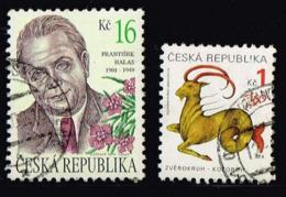 Tschechien 2001/1998, Michel# 292 + 199 O František Halas (1901-1949)/ Capricorn - Czech Republic