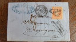20/09/19-LAC Marseille, Taxée 80 , Affranchissement Insuffisant En NOIR SUR TIMBRE - 1849-1876: Période Classique