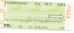 BRD Weinheim RNV = Rhein-Neckar-Verkehrsverbund Einzelfahrschein Erw. PS 2 2019 - Europe