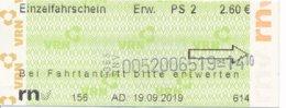 BRD Weinheim RNV = Rhein-Neckar-Verkehrsverbund Einzelfahrschein Erw. PS 2 2019 - Strassenbahnen