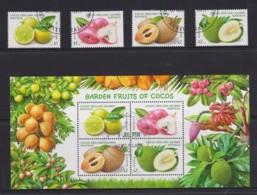 Cocos Islands 2017 Garden Fruits Of Cocos Set Of 4 + Minisheet CTO - Cocos (Keeling) Islands