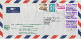 Bangladesh Air Mail Cover SOS Children's Village International Sent To Denmark 1980 Topic Stamps (bended Cover) - Bangladesh